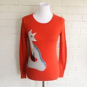 LOFT burnt orange soft wool blend fox sweater